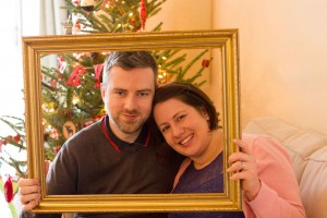 Mike and Beccy with the Christmas tree at home