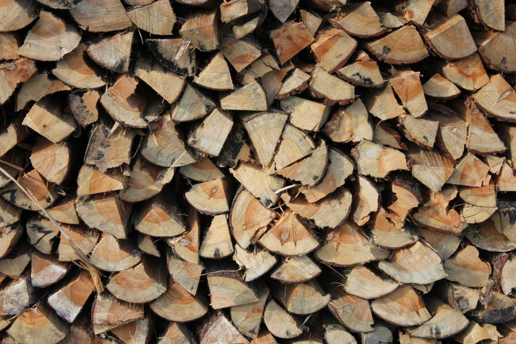 a pile of logs stacked up